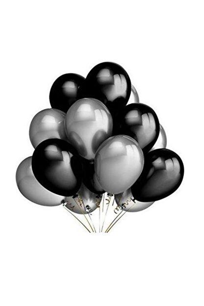 Renkli Parti Siyah Gümüş Gri Metalik Parti Balonu 25 Adet