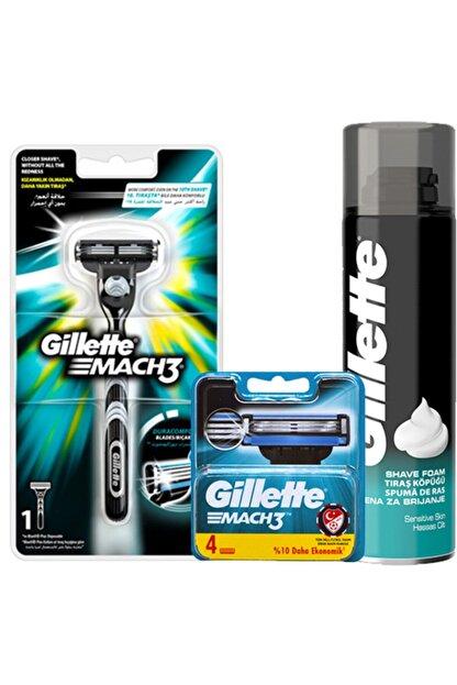 Gillette Gilette Mach3 Makine 1up + Mach3 4'lü Yedek Bıçak + 200ml Traş Köpüğü Sinek Kaydı