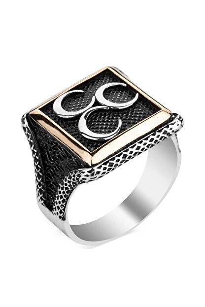 Anı Yüzük Üç Hilalli Kare Tasarım Erkek Gümüş Yüzüğü