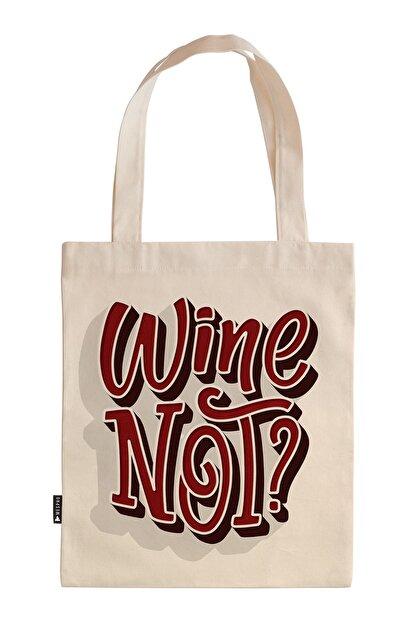 Mespho Wine Not 35x40 cm. Baskılı Ham Bez Çanta