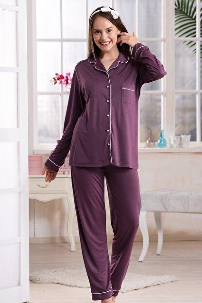 Emose 4095 Düğmeli Kadın Pijama Takım Mürdüm