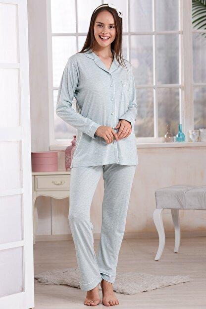 Emose 4095 Düğmeli Kadın Pijama Takım Mint Yeşil