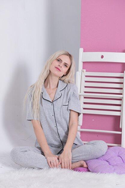 Pijama Denizi Gri - Saten Biyeli Lüks Pamuklu Likralı Kısa Kollu Gömlek Yaka Düğmeli Pijama Takımı