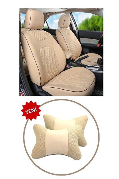 AutoFresh Fiat Penny Oto Koltuk Başlığı Uyumlu Bej Boyun Destek Yastığı Ortopedik Lüks Suni Deri Terletmez