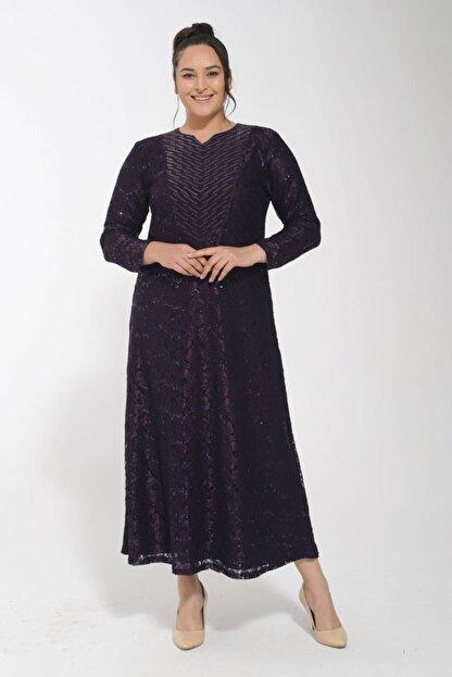 POTİMOR Kadın Mürdüm Dantel V Yaka Taş Detaylı Abiye Elbise