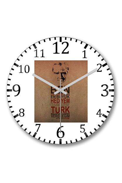 Baskı Dükkanı Atatürk Duvar Saati Bombeli Gercek Cam