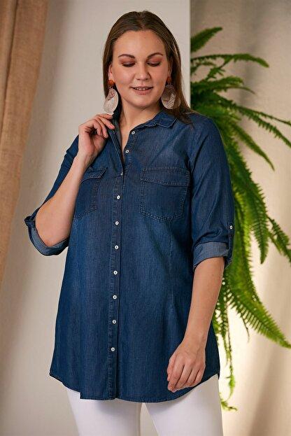Rmg Kadın Kim.Mavi Büyük Beden Kim Mavi Gömlek O4235