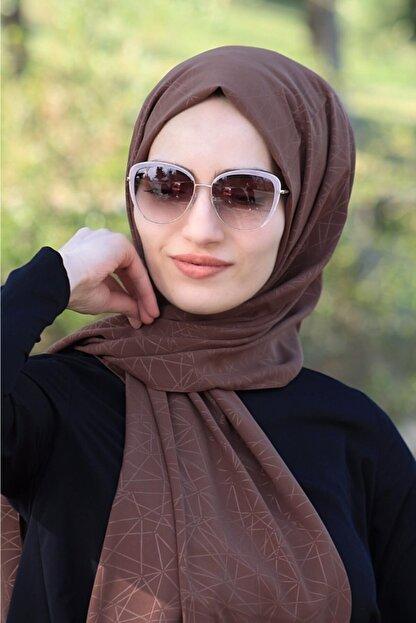 Balse Kadın Kahverengi Desenli Medine İpeği Şal