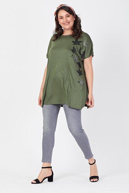 Siyezen Büyük Beden Haki Yeşili Salaş Sarmaşık Yaprak Baskılı T-shirt