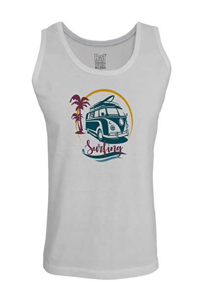 Raf Coll Erkek Vosvos Surfing Baskılı Askılı Beyaz T-shirt