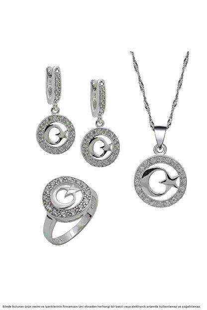 Çağrı Gümüş Gümüş Ayyıldız Temalı Üçlü Set Takı
