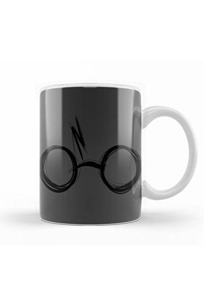 Baskı Dükkanı Sketchy Harry Potter Gözlüğü Kupa Bardak Porselen