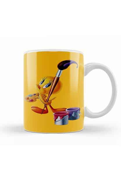 Baskı Dükkanı Looney Tunes Tweety Painting Kupa Bardak Porselen