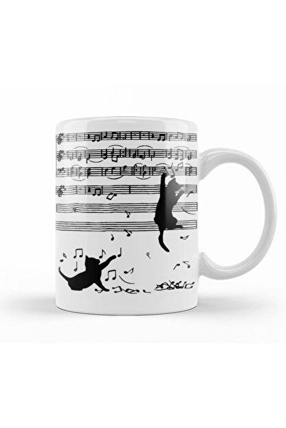 Baskı Dükkanı Yaramaz Komik Müzik Notalı Kedi Cat Kupa Bardak Porselen