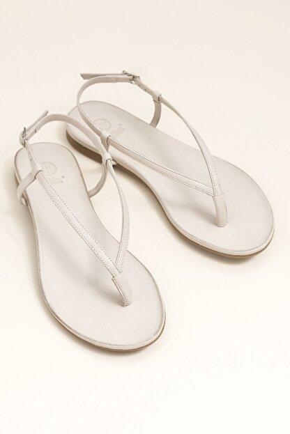 Elle MANISHA Hakiki Deri Kemik Rengi Kadın Sandalet