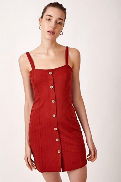 Never more Kadın Kırmızı Düğmeli Askılı Elbise