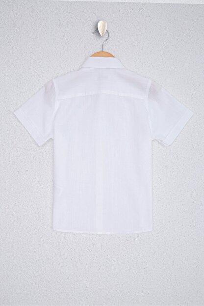 US Polo Assn Beyaz Erkek Çocuk Dokuma Gömlek