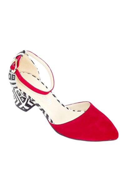 TRENDY Kadın Kırmızı  Bilekten Bağlamalı Topuklu Ayakkabı 100100122