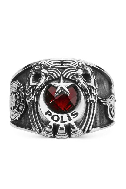 Anı Yüzük Çift Kartal Başlı Tuğralı Polis Yüzüğü Kırmızı Taşlı