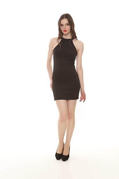 Moda Feminen Kadın Siyah Düz Kalem Elbise