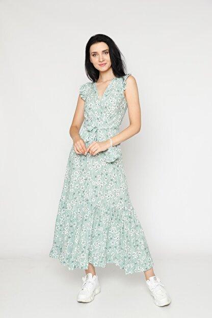 EPULİMO Kadın Mint Yeşili Kruvaze Yaka Kuşaklı Kısa Kol Viskon Elbise