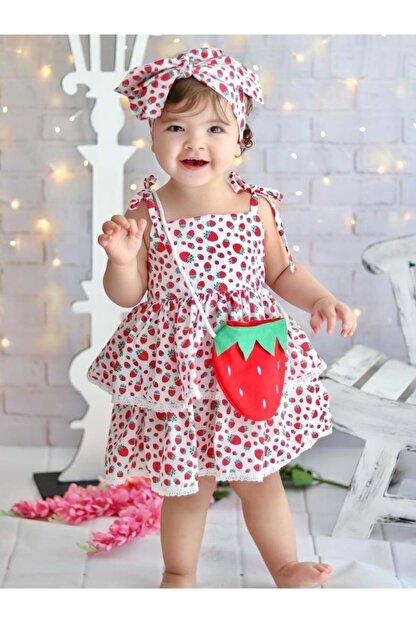 Buse&Eylül Bebe Kız Çocuk Kırmızı Çilek Desenli Terikoton Kumaş Çantalı Bandanalı Elbisesi