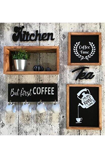 dilerdesign Raf Ve Kupa Askılıklı Ahşap Mutfak Seti