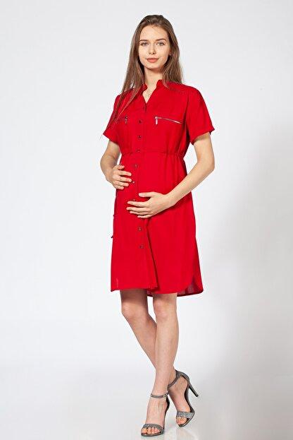BUSA Kadın Kırmızı Düğmeli Hamile Günlük Elbise