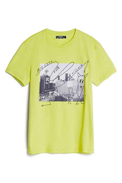 Bershka Erkek Sarı Grafiti Baskılı T-Shirt