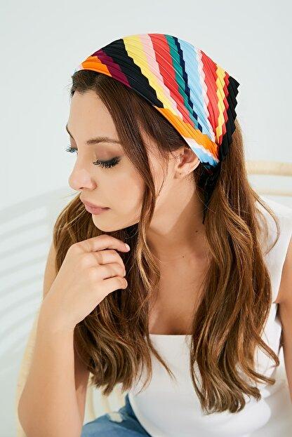 Sateen Kadın Renkli Piliseli Fular Stn826Kfl101