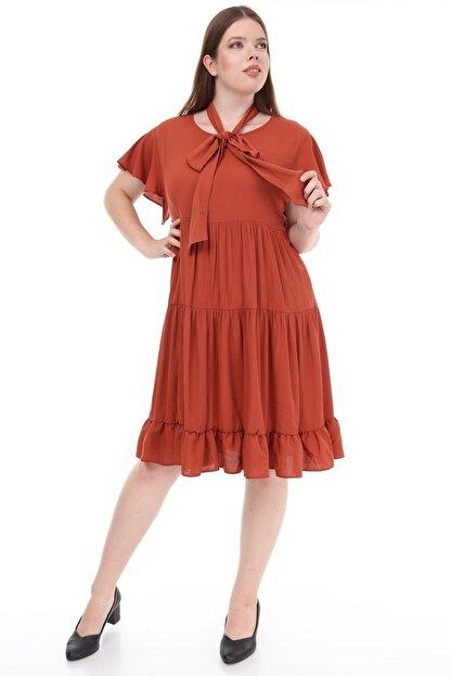 Lir Kadın Büyük Beden Fırfır Katlı Yarım Kol Elbise Tarçın