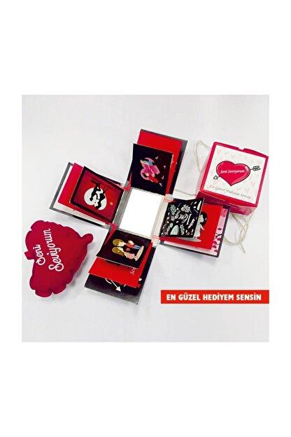 KRAUSBERG Sevgiliye Hediye Patlayan Aşk Kutusu Seni Seviyorum Yazılı Yastıkla