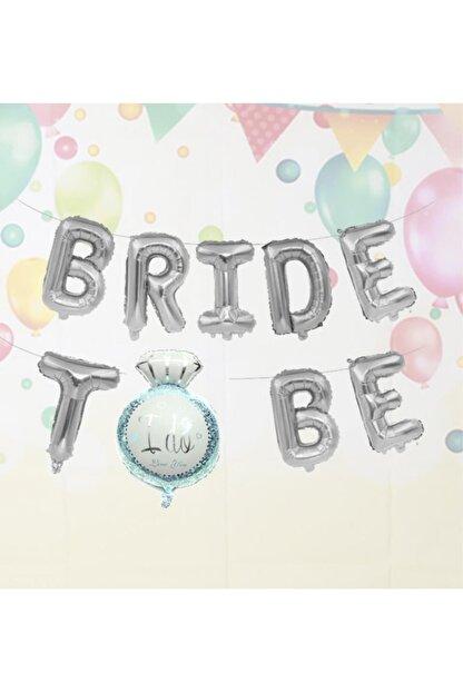 PEKSHOP Tek Taşlı Bride To Be Folyo Balon Paketi Gümüş Renk
