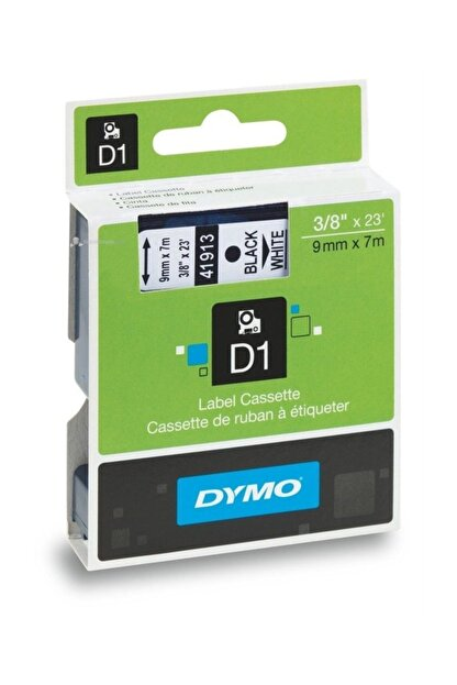 Dymo D1 Yedek Şerit 9mmx7m Beyaz/Siyah 40913