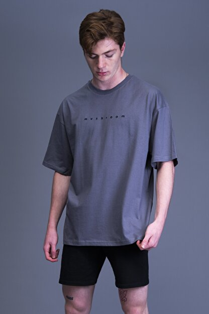 Mushroom Apparel Unisex Gri Nakışlı Oversize Tshirt