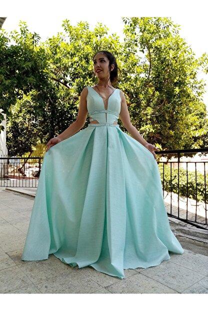 Dejavu Abiye Kadin Mint Yesili Prenses Model Abiye Elbise Trendyol