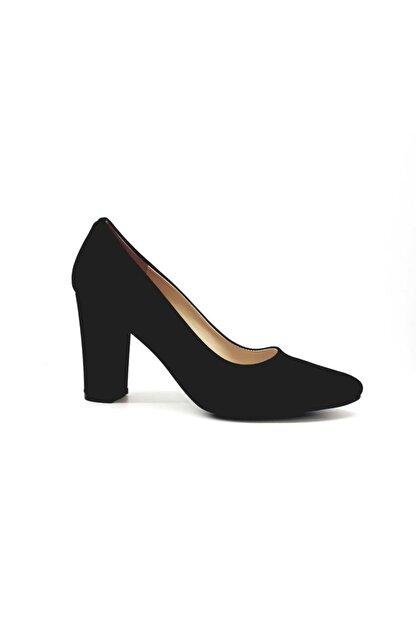 PUNTO Kadın Siyah Süet Kalın Topuk Klasik Ayakkabı 462003z