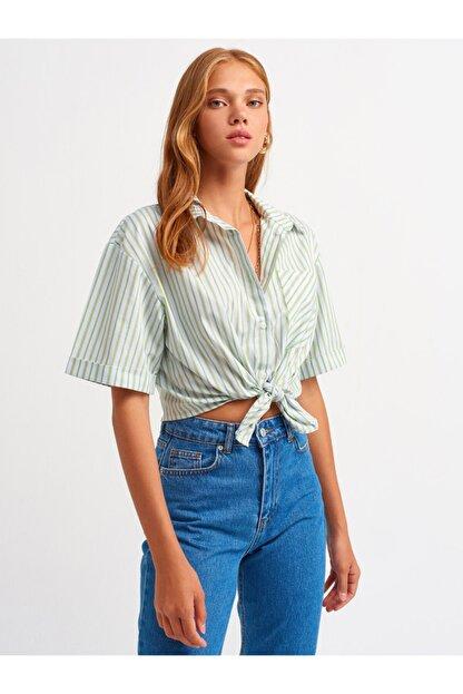 Dilvin Kadın Yeşil Önü Düğümlü Gömlek