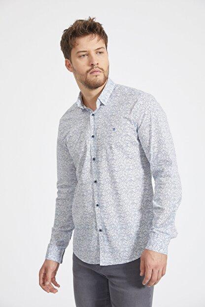 Avva Erkek Açık Mavi Baskılı Alttan Britli Yaka Slim Fit Garnili Gömlek A02Y2070