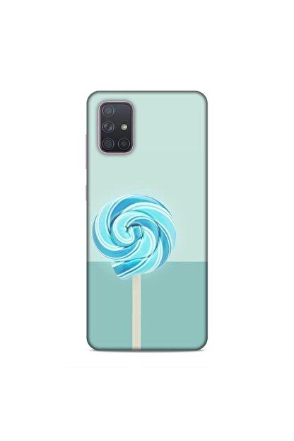 Pickcase Samsung Galaxy A71 Kılıf Desenli Arka Kapak Mavi Şeker