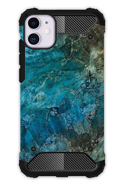 """Cekuonline Iphone 12 Mini 5.4"""" Kılıf Desenli Antishock Crash Kapak - Mavi Mermer"""