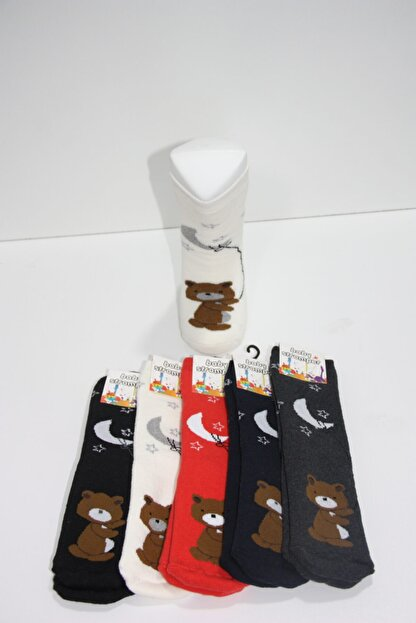 Baby Stromper Çocuk 5li Havlu Tabanaltı Abs Baskılı Ayı Desenli Çorap