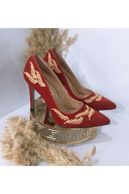 BYRTİCARET Kadın Kırmızı Süet Abiye Ayakkabı
