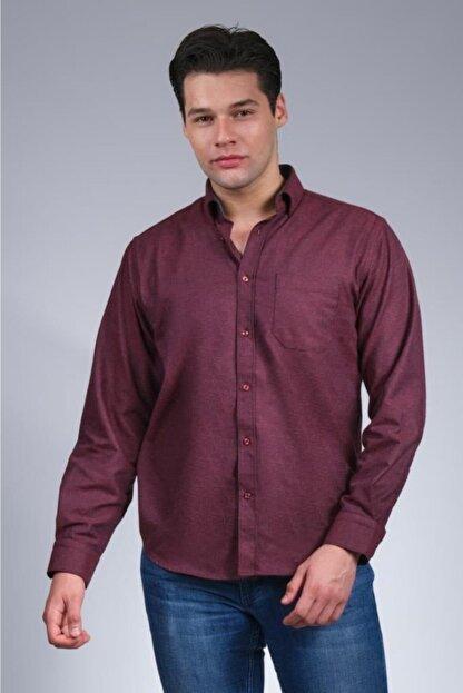 Uztex Erkek Vişne  Balıksırtı Düz Melanjuzun Kol Klasik Fit Gömlek