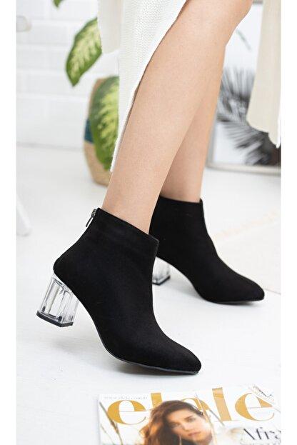 Moda Değirmeni Siyah Süet Kadın Şeffaf Topuk Bot Md1050-116-0001