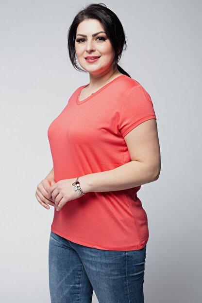 Ebsumu Kadın Mercan Beden V Yaka Basic Kısa Kollu Tişört