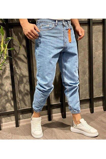 Oliggopol Erkek Mavi Paçası Lastikli Likrasız Boyfriend Kot Pantolon