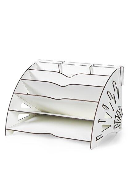 KUK Design Beyaz Delcia Modern Pratik Ofis Masaüstü Organizer Düzenleyici A4 Evrak Rafı