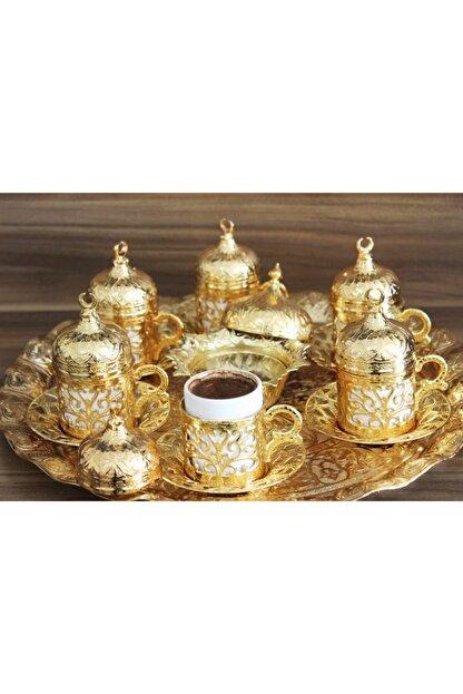 YamanlarPlastik Kahve Fincan Seti. 6 Kişilik Otantik Desenli Tepsili Fincan Takımı. Gold 27 Parça