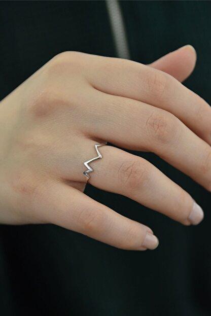 Papatya Silver 925 Ayar Gümüş Rodyum Kaplama Kalp Ritmi Ayarlanabilir Yüzük